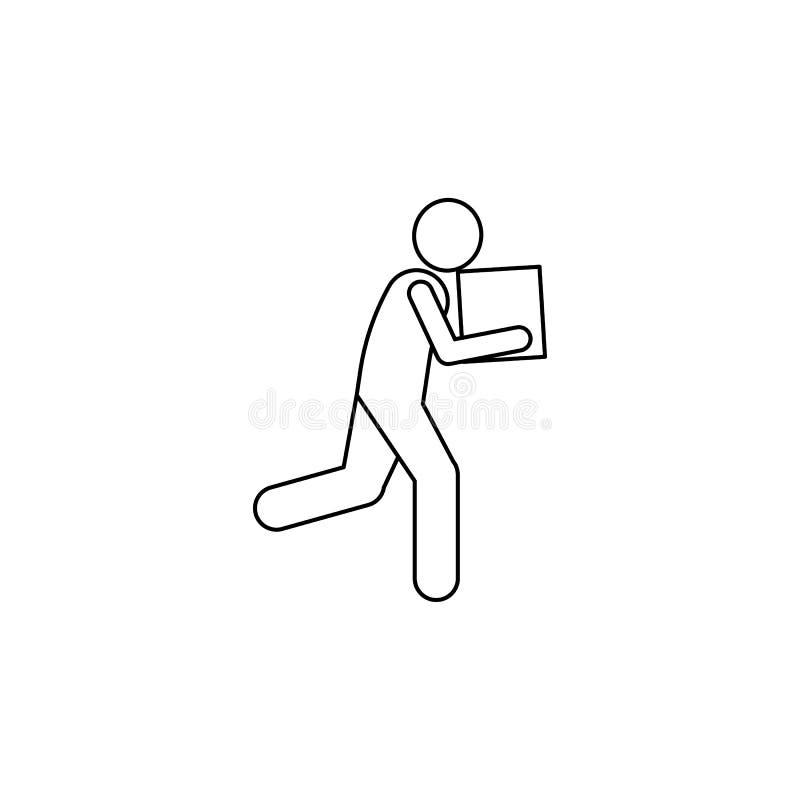 courses d'homme avec une icône de boîte L'élément de l'homme porte une illustration de boîte Icône de la meilleure qualité de con illustration stock