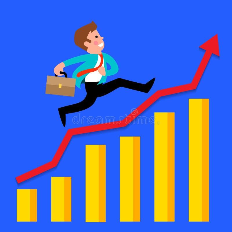 Courses d'homme d'affaires sur le graphique photo stock