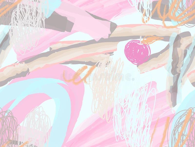 Courses de brosse d'aquarelle avec des griffonnages et des pommes de griffonnages illustration stock