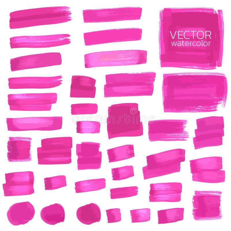 Courses de brosse d'aquarelle de Violet Pink Course de brosse de vecteur illustration stock