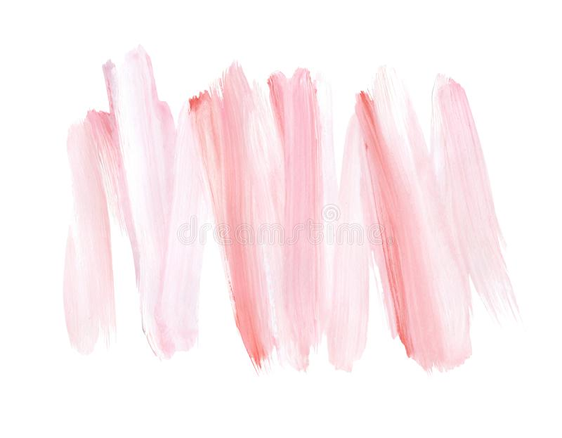 Courses de brosse de rose en pastel d'isolement sur le fond blanc ?l?ment peint ? la main de conception Fond doux d'aquarelle illustration de vecteur