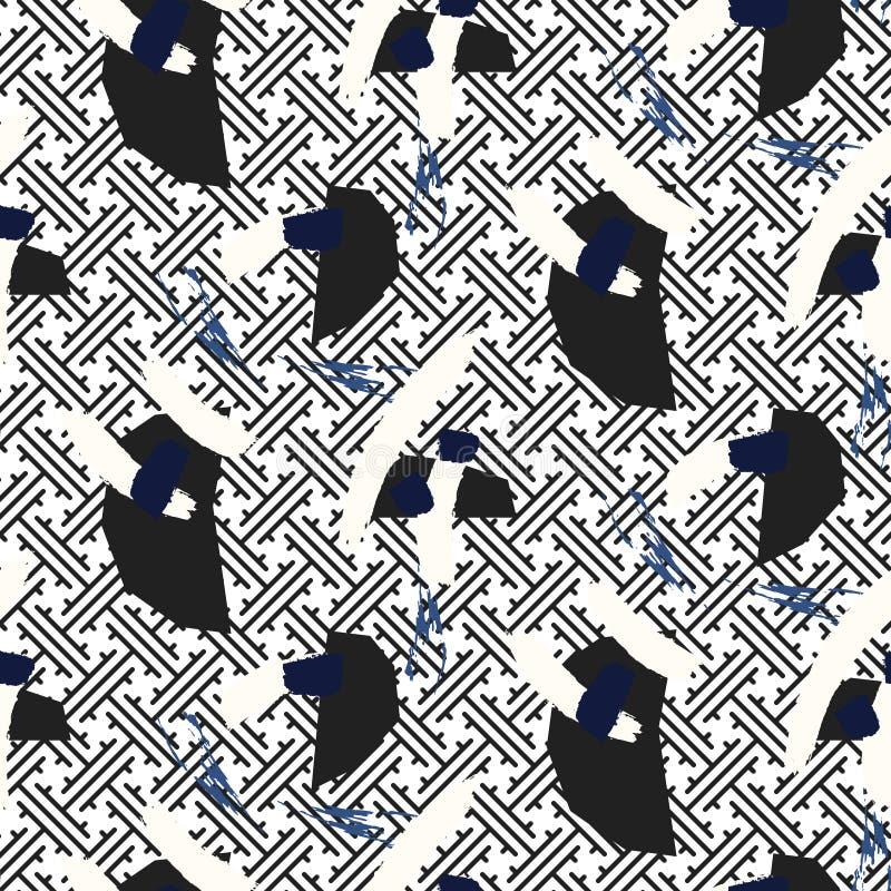 Courses de pinceau sur le modèle sans couture d'ornement bleu classique oriental illustration libre de droits