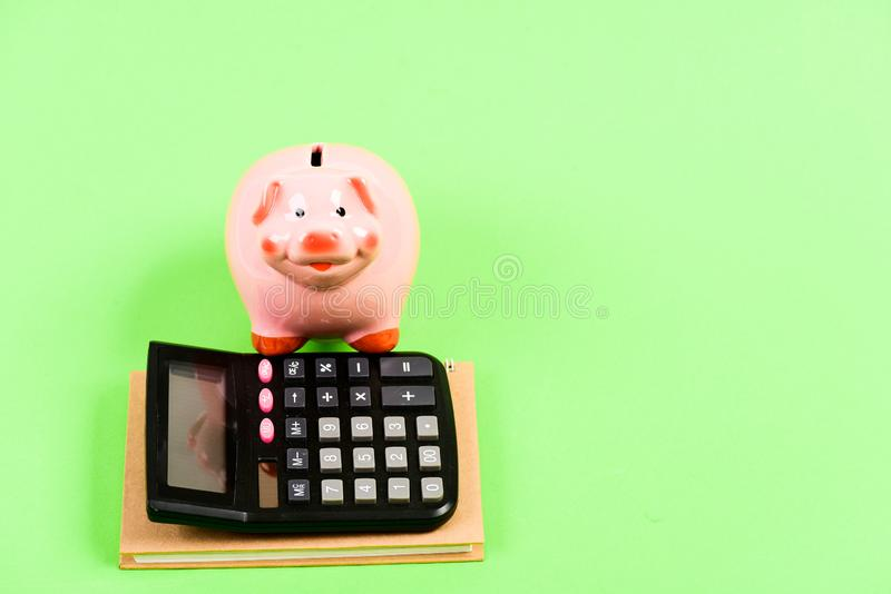 Courses financial literacy. Financial report. Piggy bank money savings. Banking and accounting. Financial support. Consulting. Building managing and preserving royalty free stock photography