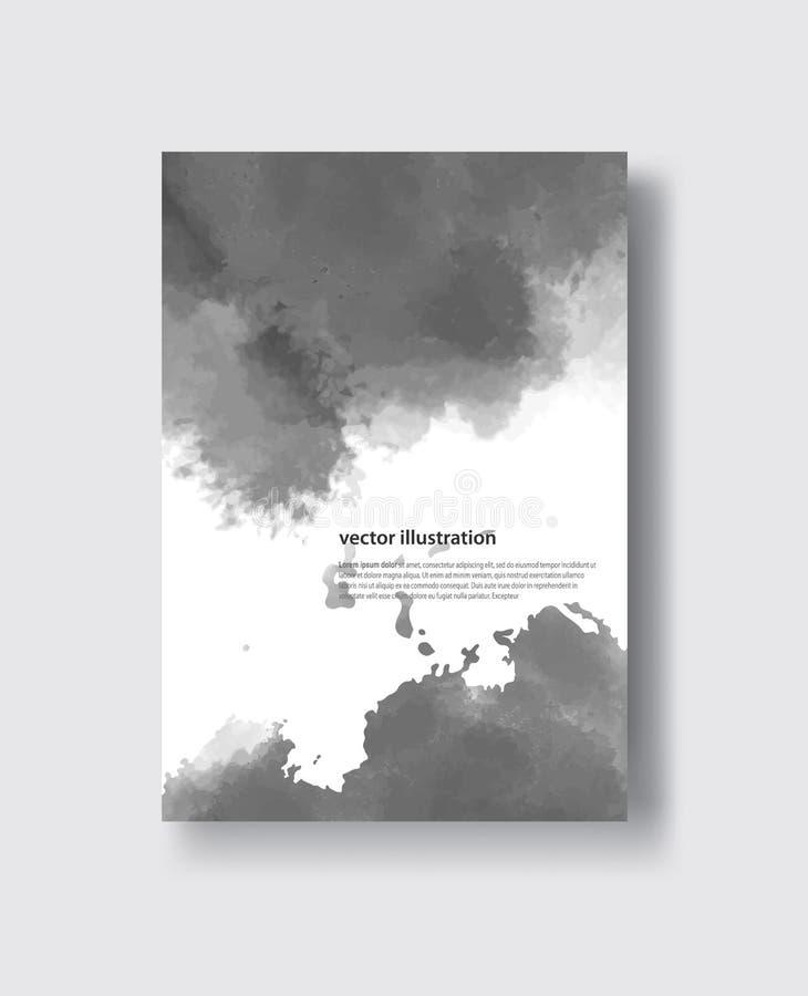 Courses grises de brosse de couleur de vecteur Éléments d'isolement par grunge monochrome d'aquarelle illustration libre de droits