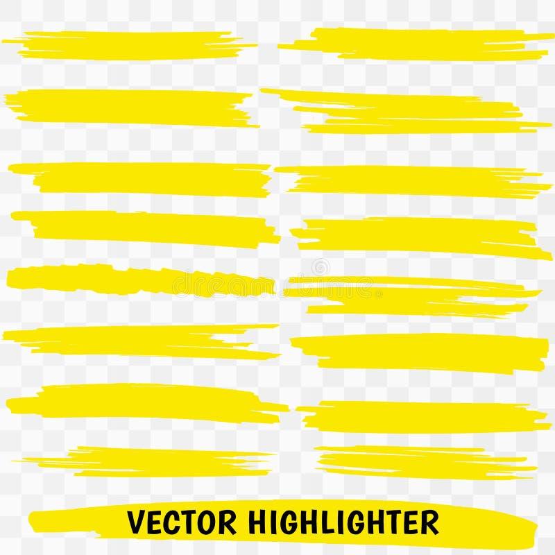 Courses jaunes de marqueur de barre de mise en valeur illustration libre de droits