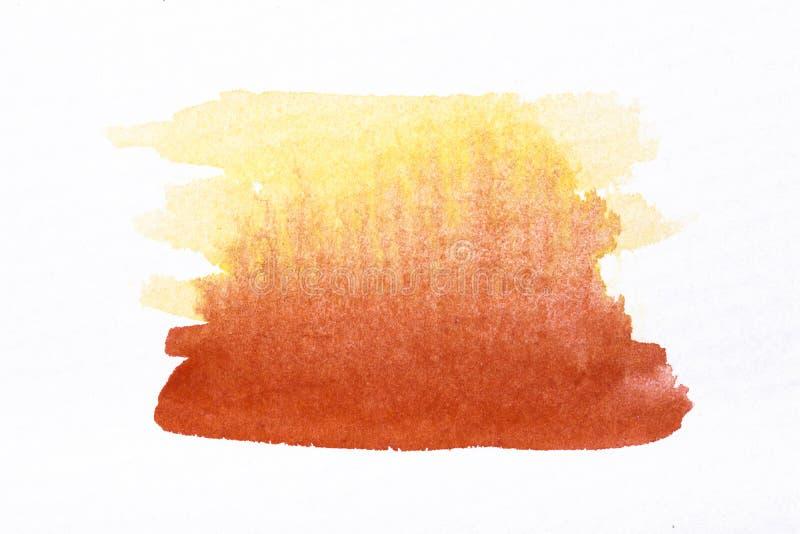 Courses oranges de brosse d'aquarelle sur le papier rugueux blanc de texture illustration libre de droits