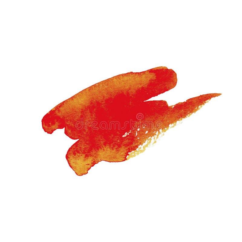 Courses oranges de brosse d'aquarelle tirée par la main avec le bord approximatif sur le fond blanc illustration libre de droits