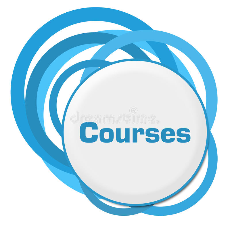 Courses Random Blue Rings. Courses text written over blue circular background royalty free illustration
