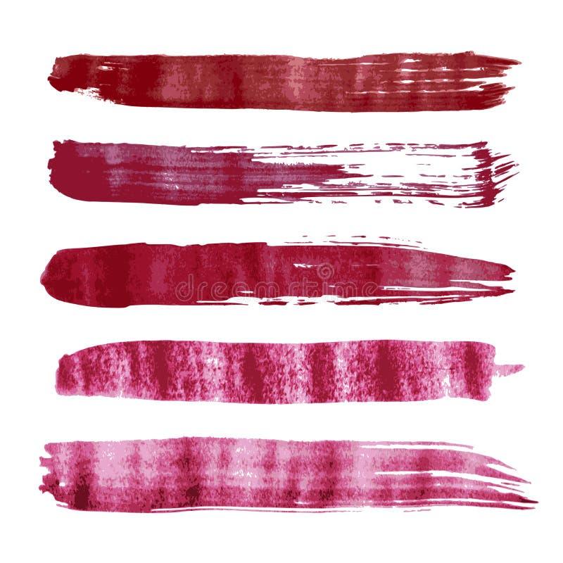 Courses rouges de brosse d'aquarelle de vecteur illustration libre de droits
