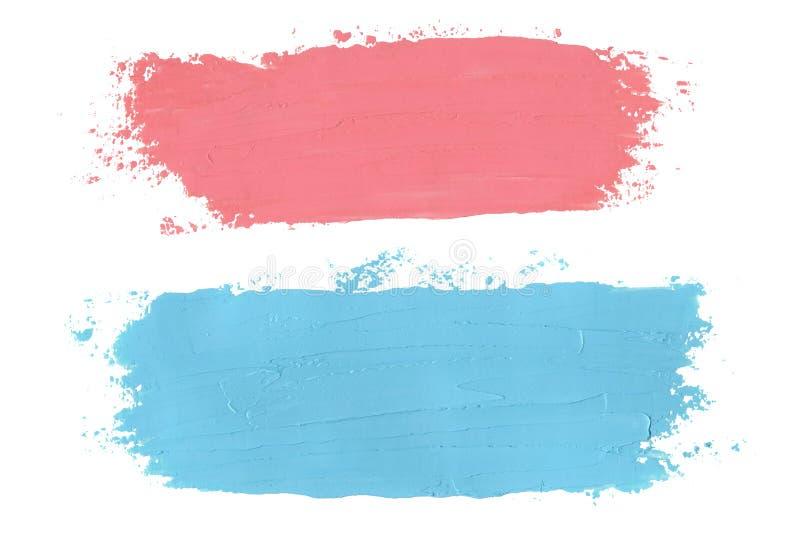 Courses sales de brosse d'huile rose et bleue peintes sur le fond blanc illustration stock