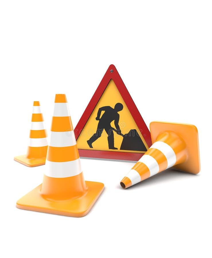 Courses sur route, cônes du trafic et signe illustration de vecteur