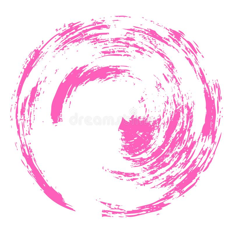 Courses tirées par la main de brosse d'aquarelle de vecteur sous forme de cercle de couleur rose sur un fond blanc illustration libre de droits