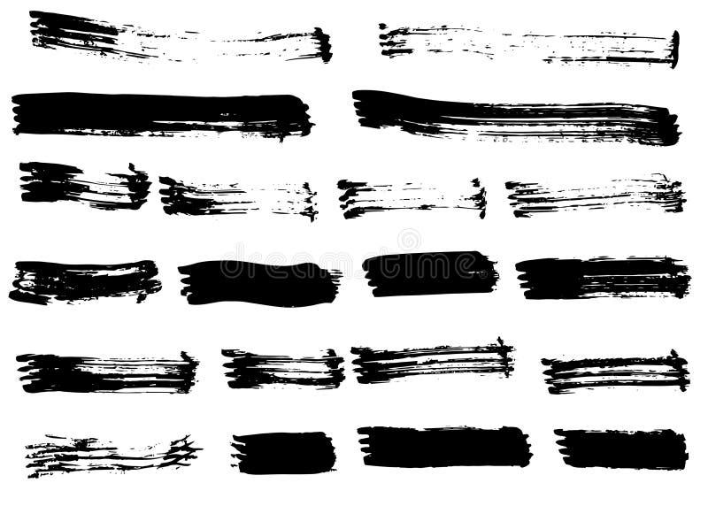 Courses tirées par la main noires grunges de brosse d'isolement Différentes courses sèches de brosse de vecteur illustration libre de droits