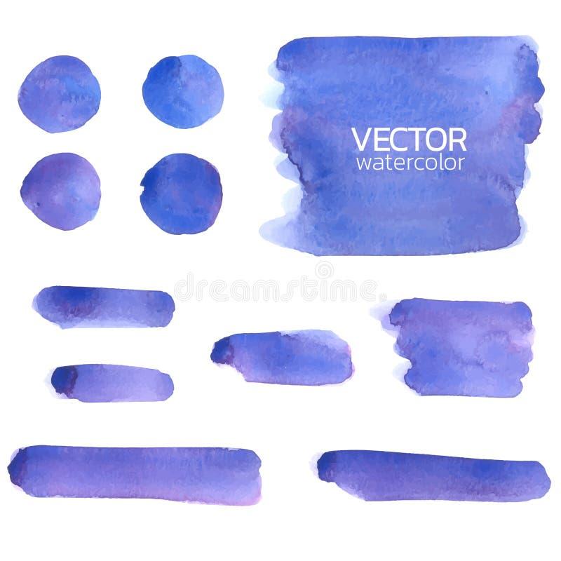 Courses violettes bleues de brosse d'aquarelle Course de brosse de vecteur illustration de vecteur
