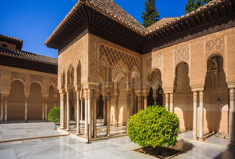 Court of Alhambra Palace. In court of the Lions Alhambra palace in Granada Spain royalty free stock photography