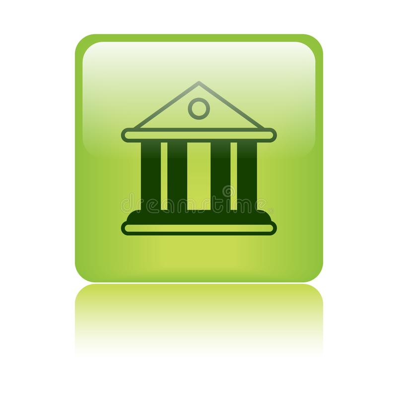 Court / bank building icon. Bank / court building icon web button - vector illustration on isolated white background with reflection shadow royalty free illustration