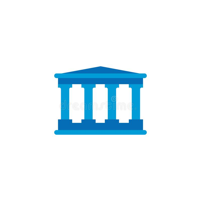 court or bank building , vector icon isolated on white background stock illustration