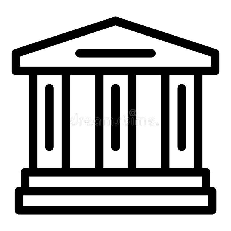 Court building icon, outline style. Court building icon. Outline court building vector icon for web design isolated on white background royalty free illustration