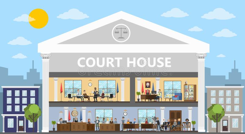 Court building interior with courtroom and offices. Trial process with judge, jury and suspect. Vector flat illustration royalty free illustration