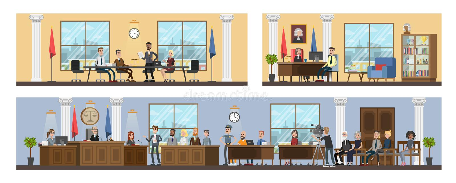 Court building interior with courtroom and offices. Trial process with judge, jury and suspect. Vector flat illustration stock illustration