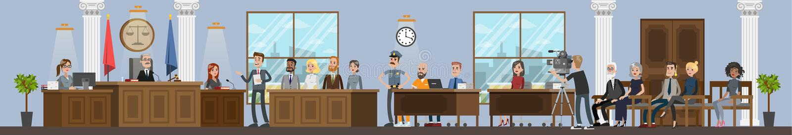 Court building interior with courtroom. Trial process. With judge, jury and suspect. Lawyer or attorney giving a speech. Vector flat illustration stock illustration