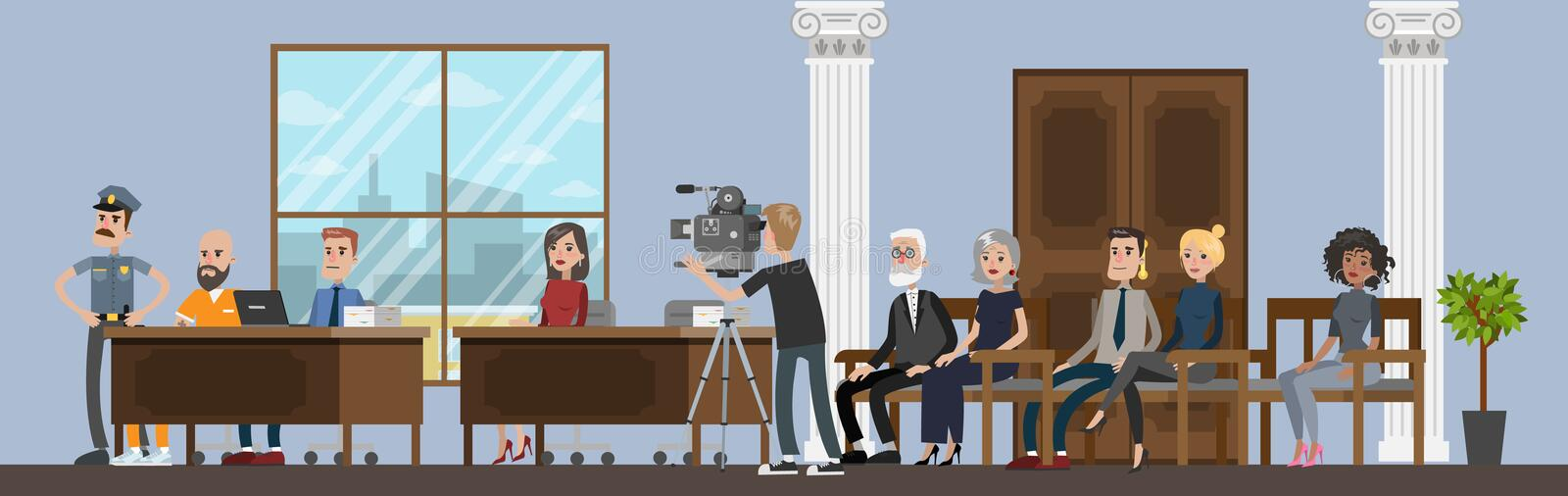 Court building interior with courtroom. Trial process. With jury and suspect. Police officer standing at prisoner. Idea of justice. Vector flat illustration vector illustration