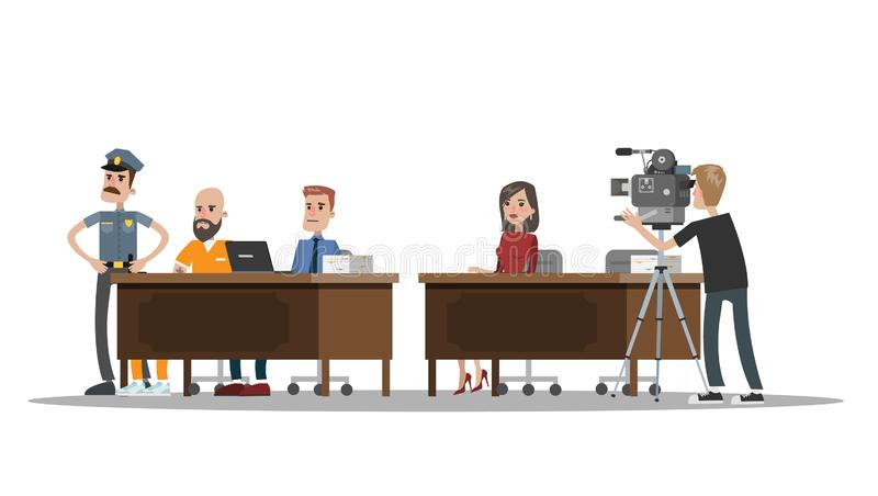 Court building interior with courtroom. Trial process. With jury and suspect in robe. Police officer standing at prisoner. Idea of justice. Vector flat royalty free illustration