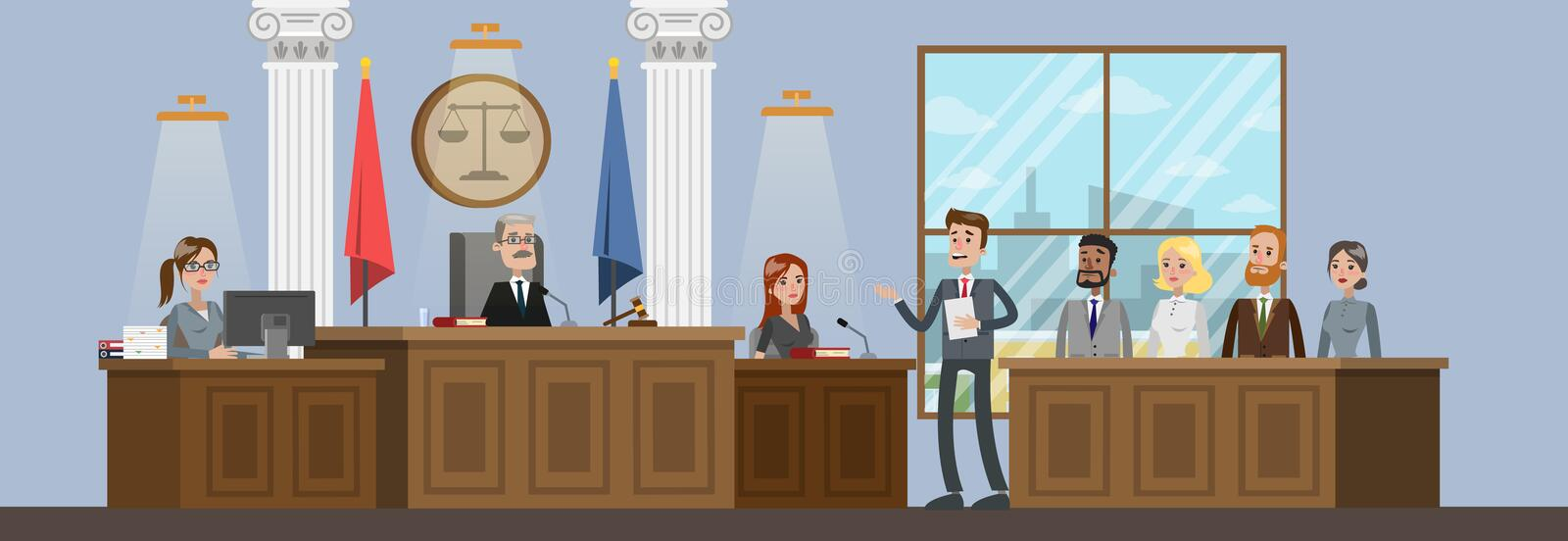 Court building interior with courtroom. Trial process. Lawyer or attorney giving a speech to a judge. Vector flat illustration vector illustration
