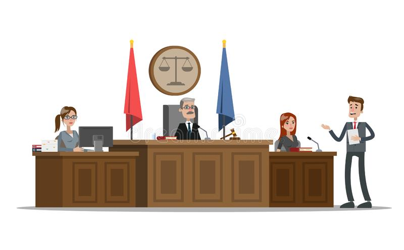 Court building interior with courtroom. Trial process. Lawyer or attorney giving a speech to a judge and witness. Vector flat illustration royalty free illustration