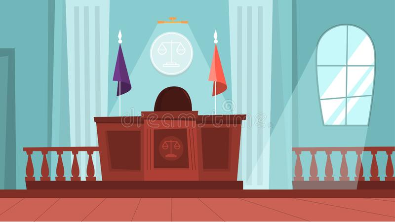 Court building interior with empty courtroom. Trial process. Idea of law and judgment. Vector illustration in cartoon style royalty free illustration