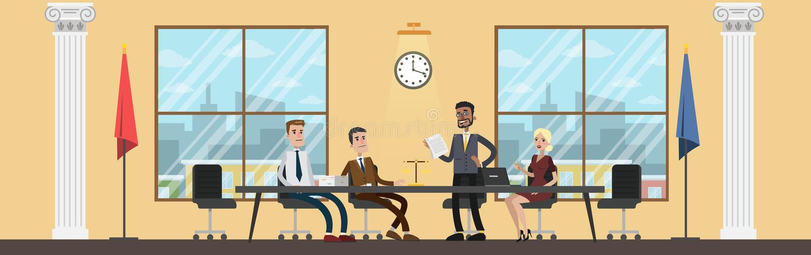 Court building interior with people on meeting. Attorney or lawyer in the conference room discuss trial process. Vector flat illustration vector illustration