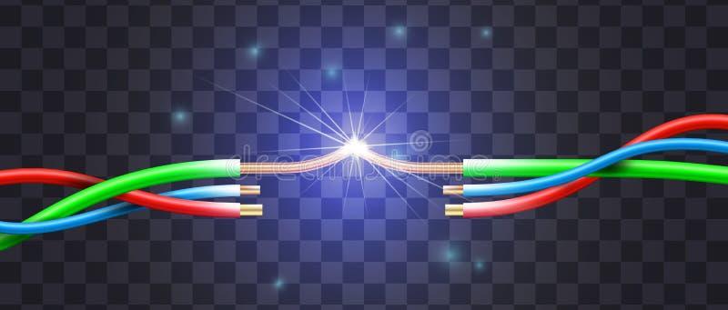 Court-circuit réaliste par l'exemple d'une coupure trifilaire dedans illustration libre de droits