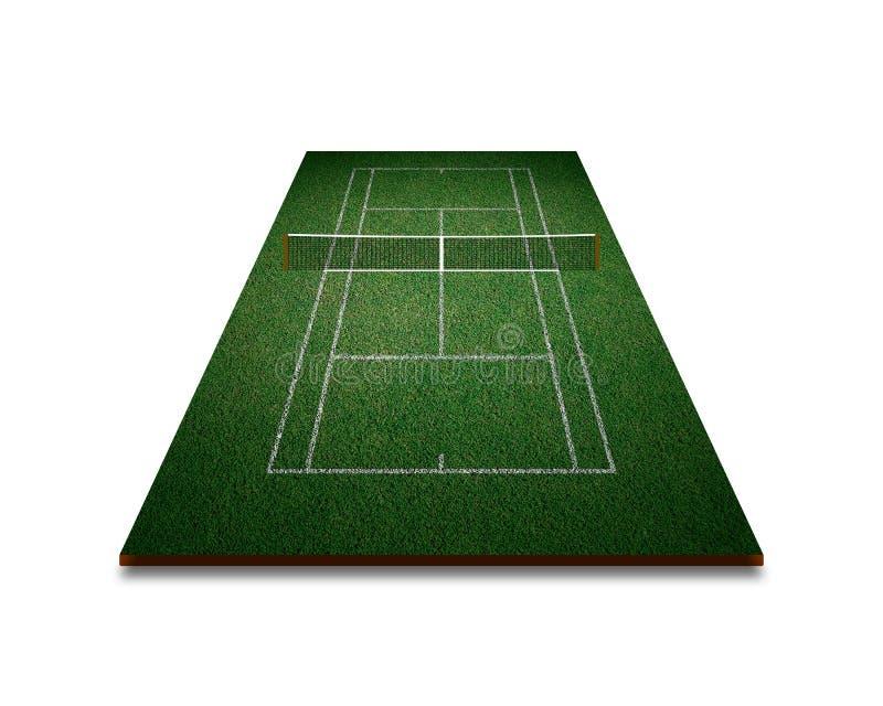 Court de tennis, herbe verte avec la ligne blanche de la vue supérieure image libre de droits