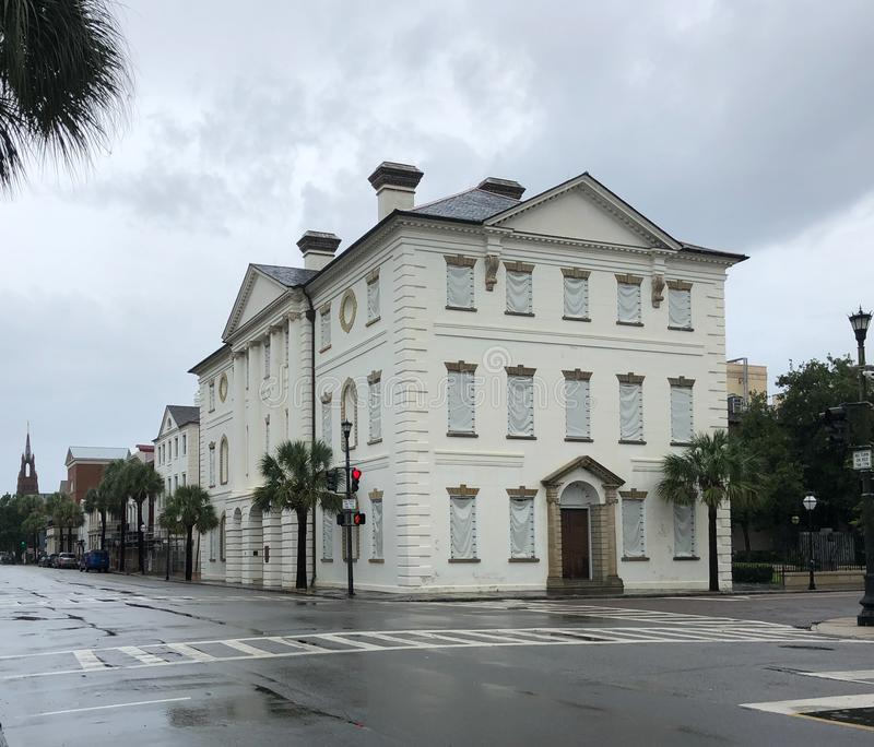 The Court House on Broad Street, Charleston, SC bracing for Hurricane Dorian. Historic court house on Broad Street in downtown Charleston, South Carolina are royalty free stock images