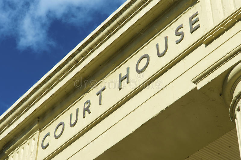 Court House entrance sign stock image