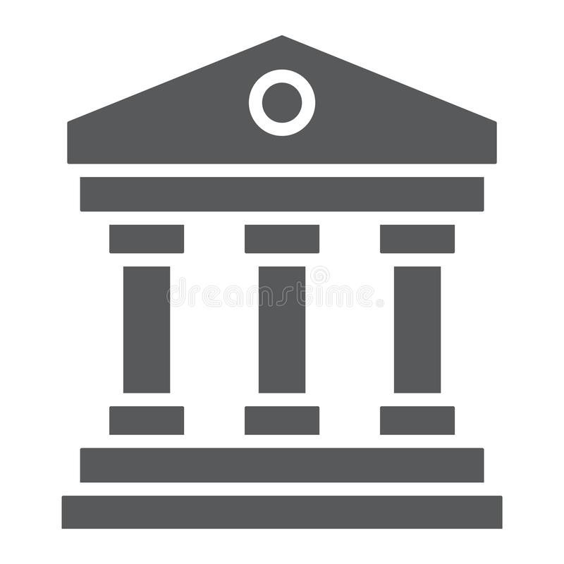 Court house glyph icon, institution and architecture, bank building sign, vector graphics, a solid pattern on a white. Background, eps 10 royalty free illustration