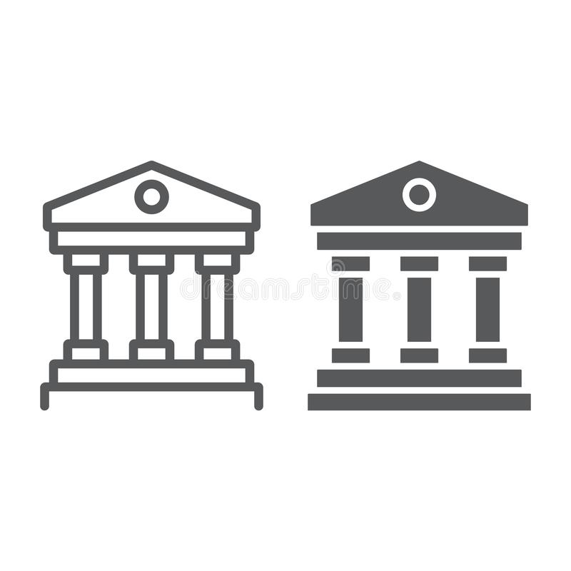 Court house line and glyph icon, institution and architecture, bank building sign, vector graphics, a linear pattern on. A white background, eps 10 vector illustration