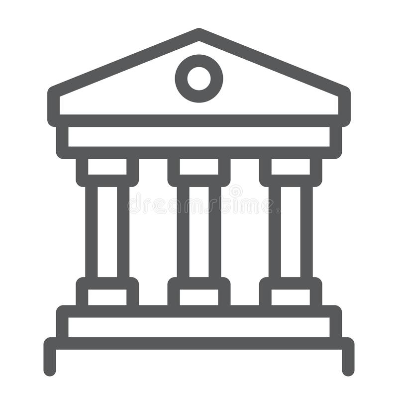 Court house line icon, institution and architecture, bank building sign, vector graphics, a linear pattern on a white. Background, eps 10 vector illustration