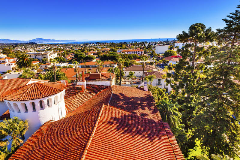 Court House Orange Roofs Pacific Ocean Santa Barbara California royalty free stock image