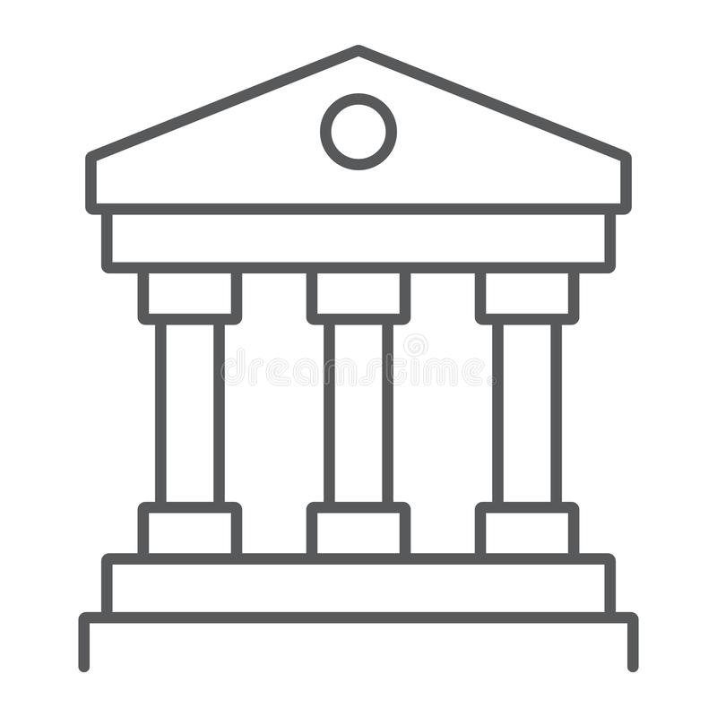 Court house thin line icon, institution and architecture, bank building sign, vector graphics, a linear pattern on a. White background, eps 10 vector illustration