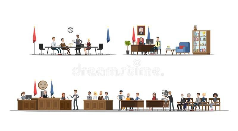 Court interior with courtroom and offices set. Trial process with judge, jury and suspect. Vector flat illustration vector illustration