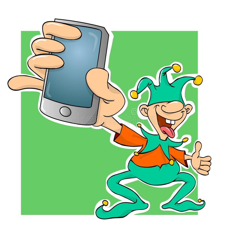 Court jester with a phone. Illustration vector illustration