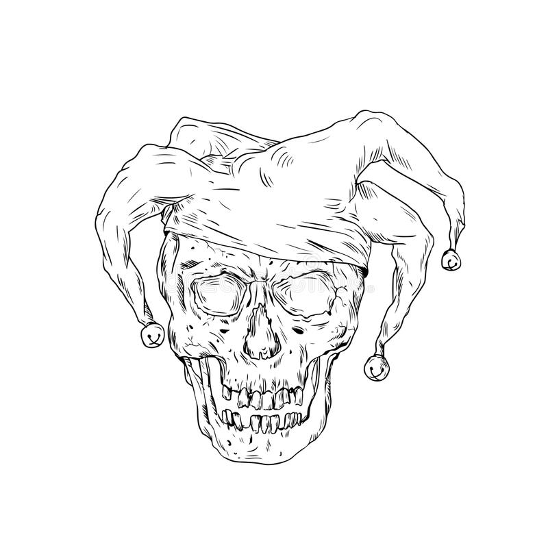 Court Jester Skull Drawing. Drawing sketch style illustration skull of a medieval jester, court jester, professional joker or fool, an entertainer during the royalty free illustration