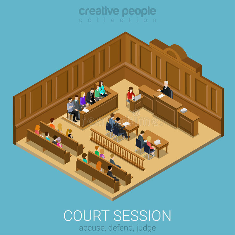 Court jury isometric session room concept vector illustration