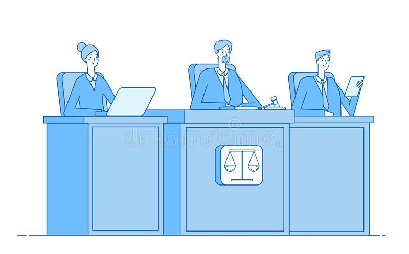 Court of justice. Law court defendant proceed crime prosecutor courthouse justice criminal courtroom judiciary vector. Concept. Illustration of justice law vector illustration