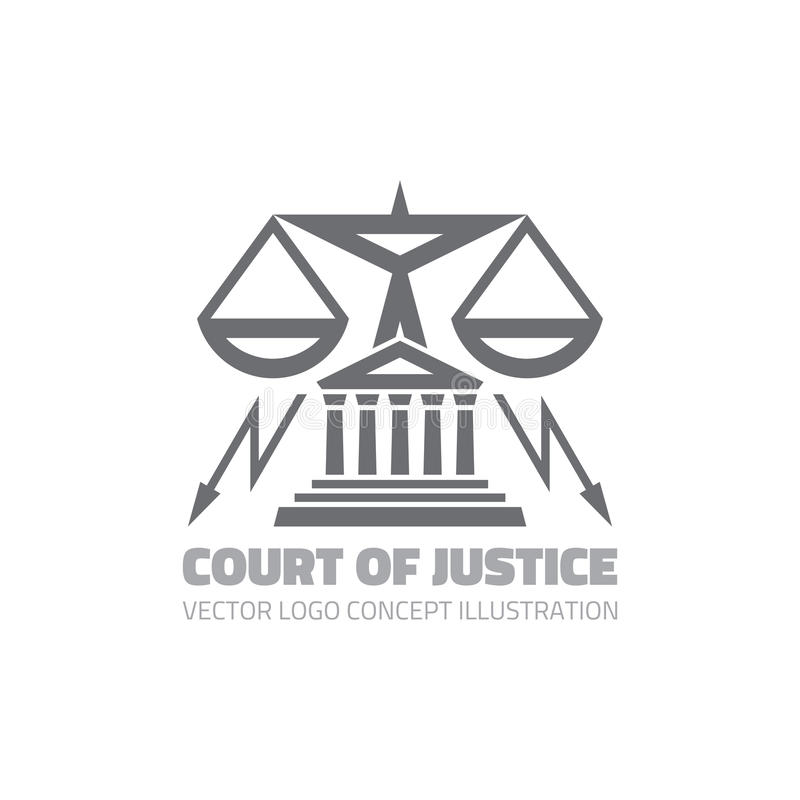Court of justice - vector logo concept illustration in classic graphic line style. Law logo icon. Legal logo icon. Scales logo. Icon. Vector logo template