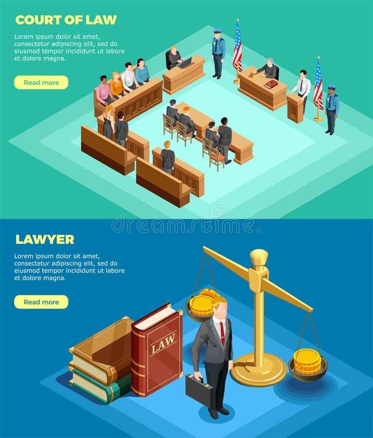 Court Of Law Banners royalty free illustration