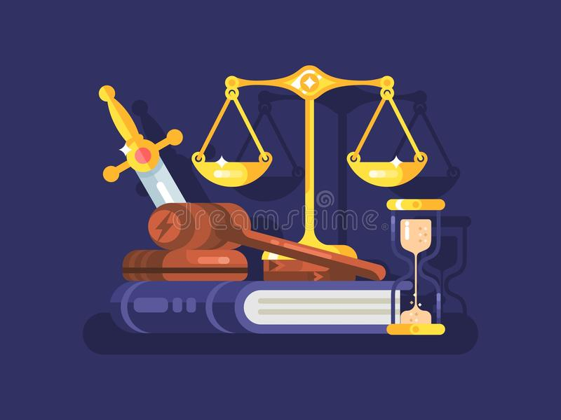 Court and law concept flat. Court and law concept. Legal justice and gavel legislation authority, vector illustration royalty free illustration