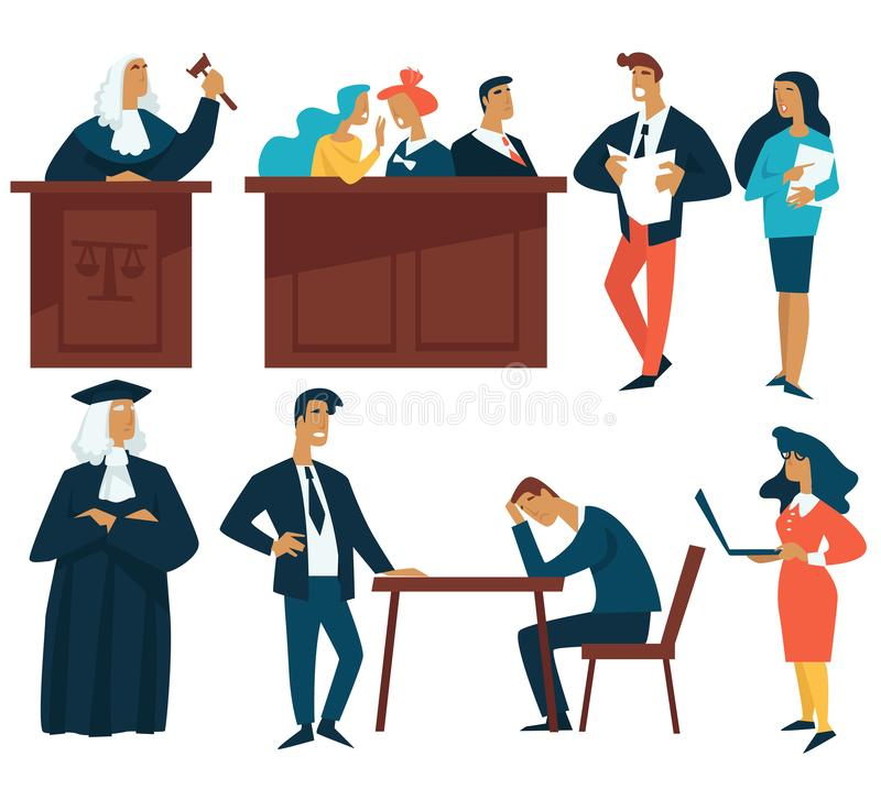 Court law and justice judge attorney and jury isolated characters. Law and justice court judge attorney and jury isolated characters vector vitness and secretary stock illustration