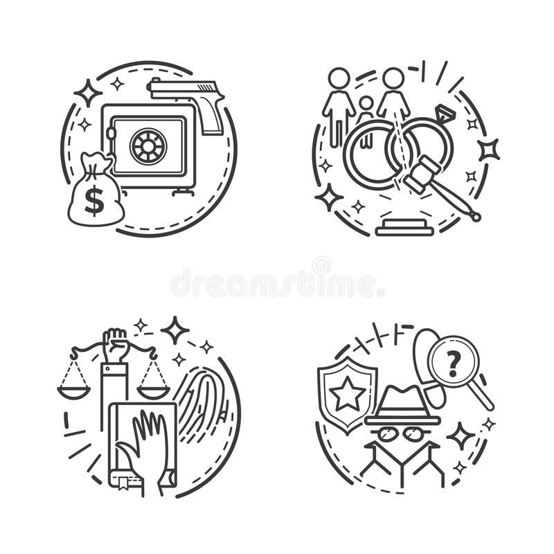 Court and law. Lawyer service and justice icons. Vector cartoon illustration vector illustration